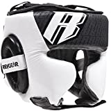 Revgear Champion Headgear–MMA Boxing Muay Thai Boxing Kick Boxing Muay Thai Karate Sparring Head Guard Black/White Made of Durable Leather–Professional Gear for Fighters, Black , S