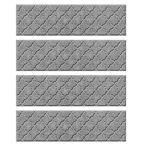 Bungalow Flooring Waterhog Stair Treads, Set of 4, 8-1/2 x 30 inches, Durable and Decorative Floor Covering, Made in USA, Indoor/Outdoor, Water-Trapping, Cordova Collection, Light Gray