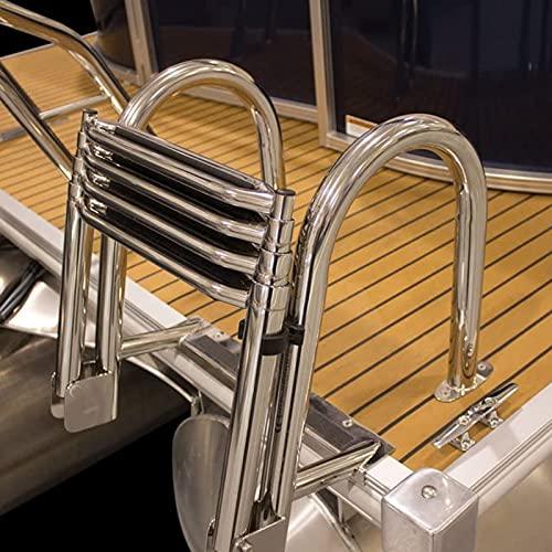 HWLL Escalera Barco Piscina Escaleras de Plataforma para Barco de Pesca, Escalera de Embarque Telescópica Plegable de 4 Peldaños con Peldaños Extra Anchos y Pasamanos, Fácil de Instalar