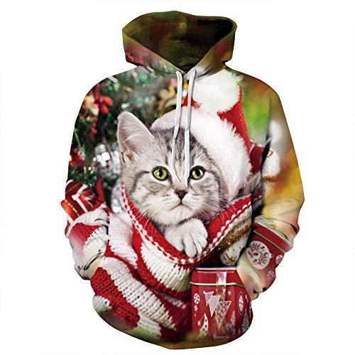 Sudadera con Capucha Unisex 3D de Forro Polar con Bolsillo de Canguro Gato de Navidad para Hombre Adolescentes Sweatshirt Hombre Mujer Sudadera con Capucha Casual Manga Larga Pullover