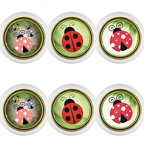 Kunststoff Möbelknopf Möbelgriff Möbelknauf 6er Set KST008W Marienkäfer Kleine Universal Möbelknöpfe Schrank, Schublade, Kommode, Tür, Küche, Bad, Haushalt Kinder Kinderzimmer