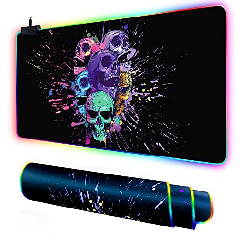 Galdas Large RGB Gaming Mouse Pad - Big Gaming Led Mouse Pad Cool Skull XXL Mouse Pad with Anti-Slip Rubber Base Stitched Edge Mouse Pad for Keyboard (31.5'x12'x0.15') (Cool Skull)