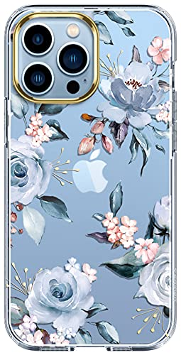 luolnh Compatible with iPhone 13 Pro Case with Flower,for Girly Women,Shockproof Clear Floral Pattern Hard Back Cover for iPhone 13 Pro 6.1 inch 2021-Blue