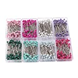 Perni con testa di perle,800 pezzi perni da cucito con teste colorate, perni da cucito Perni per corpetto con testa di perla per Decorazione, Sartoria, Creazione Gioielli (8 colori,1,57 pollici)