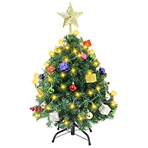 Joiedomi DIY Christmas Tree 2.5FT with Decorating Kits and 100Counts of String Lights, Prelit Artificial Christmas Tree Decorations for Outdoor/Indoor Decor