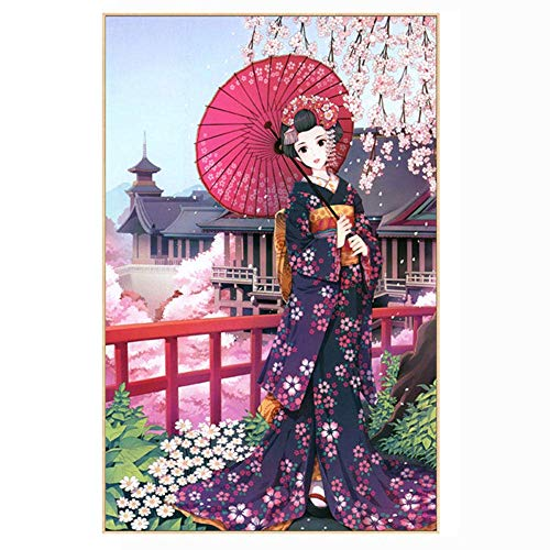 DIY Painting Kit for Adults,Japanese Geisha Woman Diamond Painting Embroidery Art Kits for Home Wall Decor,DIY Paintings Crafts Sewing Cross Stitch for Family Activities(30x45cm)