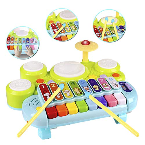 3 in 1 Toddler Drum Set Piano Keyboard Xylophone Toys Montessori Musical Instrument Learning Developmental Light Up Toys for Kids Baby Infant Boys Girls Age 1 2 3 Years Old 12 18 Months