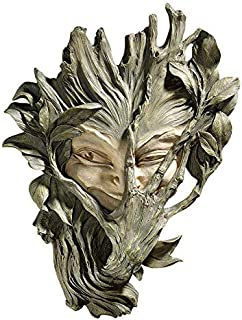 Design Toscano Bashful Wood Sprite Tree Face Mystic Decor Wall Sculpture, 13 Inch, Two Tone Stone