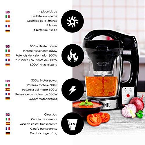 Duronic BL78 elektrischer Standmixer/Suppenbereiter / Babynahrungszubereiter/Thermalmixer und Kochmixer mit 1,2L Glasbehälter – Suppe auf Knopfdruck kreiert - 5