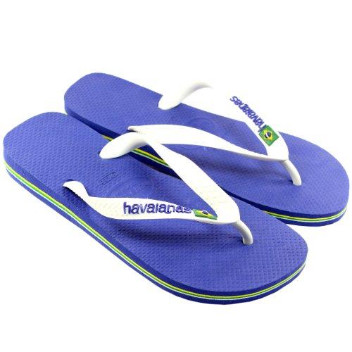 Mens Havaianas Brasil Logo Flip Flop Sandals - Navy Blue - 10/11