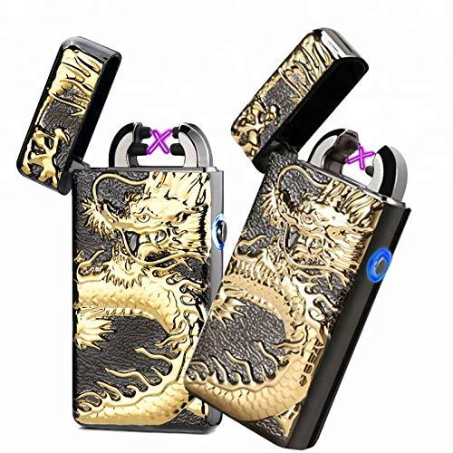 Arcland Elektrisk tändare med dubbelbåge. Uppladdningsbar med USB, vindtät och utan låga. Kommer med presentask Black Dragon Led Button