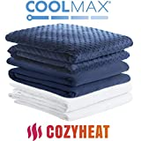 Degrees of Comfort Weighted Blanket w/ 2 Duvet Covers for Hot & Cold Sleepers|Advanced Nano-Ceramic Beads Deliver Durability & Silky Comfort (36x48 6lbs, Navy)