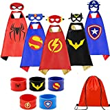 Superhero Capes Set and Wristbands Costumes Halloween Cosplay Dress Up(5PCS)