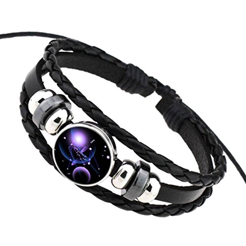 COMVIP Pu Leder Damen Herren Sternbild Form Armbänder Armkette Armkettchen Mit Horoskop Anhänger Waage