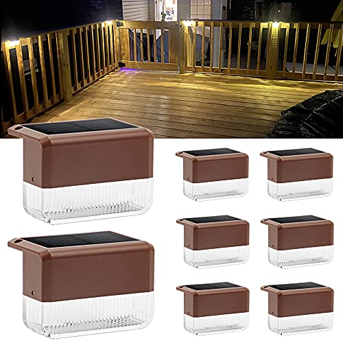 Solar Step Lights Outdoor Waterproof, APONUO Solar Deck Lights Fence Lights Warm White/Color Changing Solar Deck Lights for Railings, Stairs, Steps, Fence (8 Packs)