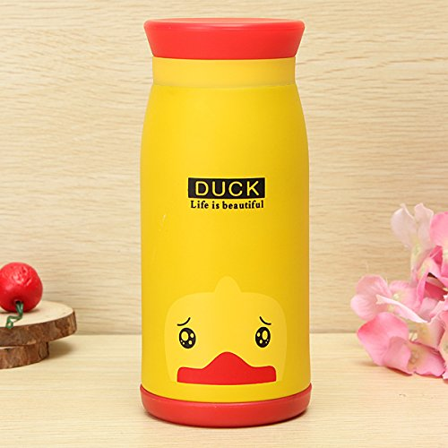 Aliciashouse Aspirateur animal Cartoon Flask Thermos Cup Eau Thé Bouteille 350ML -duck