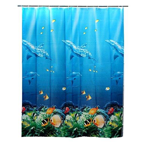 SODIAL(R) 180x180cm Tropischer Strand Meer Delphin Fisch Ozean Farben Duschvorhang mit Haken