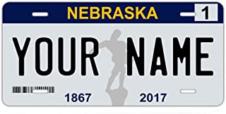 BleuReign(TM Personalized Custom Name 2017 Nebraska State Car Vehicle License Plate Auto Tag (All States Available)