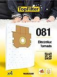 TopFilter 81, 4 sacs aspirateur pour Tornado et Electrolux, boîte de sacs d'aspiration en non-tissé, 4 sacs à poussière (30 x...