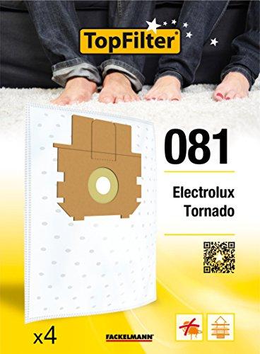 TopFilter 81, 4 sacs aspirateur pour Tornado et Electrolux, boîte de sacs d'aspiration en non-tissé, 4 sacs à poussière (30 x 26 x 0,1 cm)