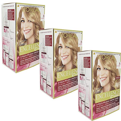 3x L'Oreal Haarfarbe Excellence Cream - (3x192ml) (8 - Blond)