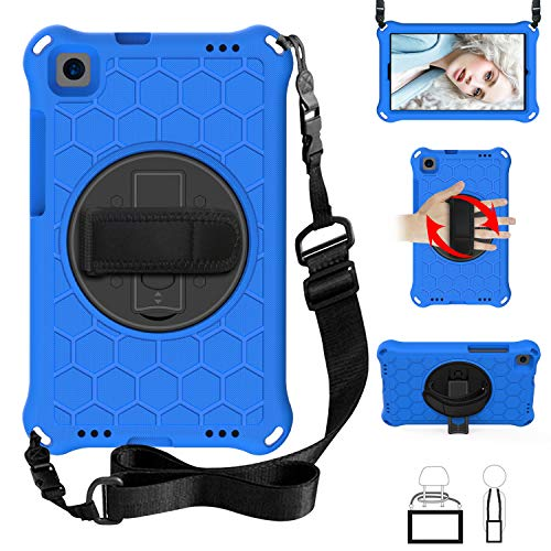 QYiD Kids Case for Galaxy Tab A 10.1 2019 (SM-T510/T515), Kids Friendly Light Weight Non-Toxic Shockproof Case Rotatable Strap, Shoulder Belt for 10.1 Inch Galaxy Tab A SM-T510 SM-T515, Blue/Black