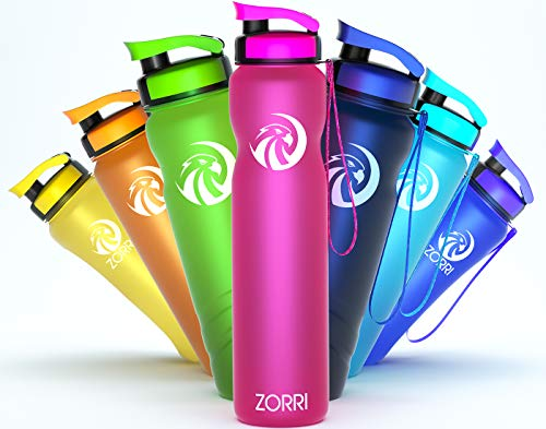 ZORRI Botella de agua de 1 litro/600 ml/800 ml/1,2 litros, sin BPA, ecológica, botella de agua a prueba de fugas de Tritan, para deportes, niños, escuela, gimnasio, fitness, bicicleta