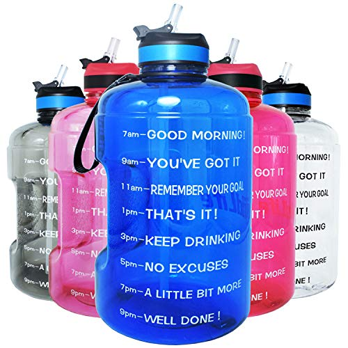 QuiFit Motivational Gallon Water Bottle - with Straw & Time Marker BPA Free Large Reusable Sport Water Jug with Handle for Fitness Outdoor Enthusiasts Leak-Proof (Hot blue,1 gallon)