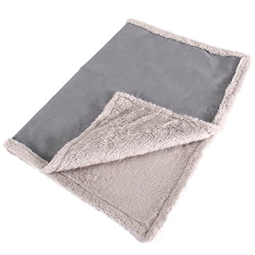 Max and Neo Cozy Premium Faux Suede Fleece Dog Blanket for Sofa, Bed, Throw, Crate - We Donate a Blanket to a Dog Rescue for Every Blanket Sold (Gray, Large)