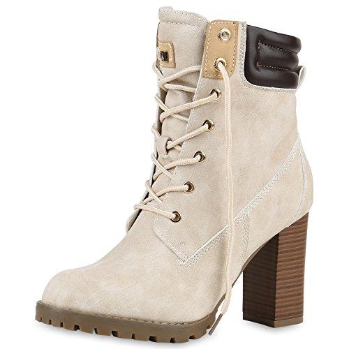 SCARPE VITA Damen Schnürstiefeletten Worker Boots Stiefeletten Block Absatz 160666 Nude Leicht Gefüttert 39