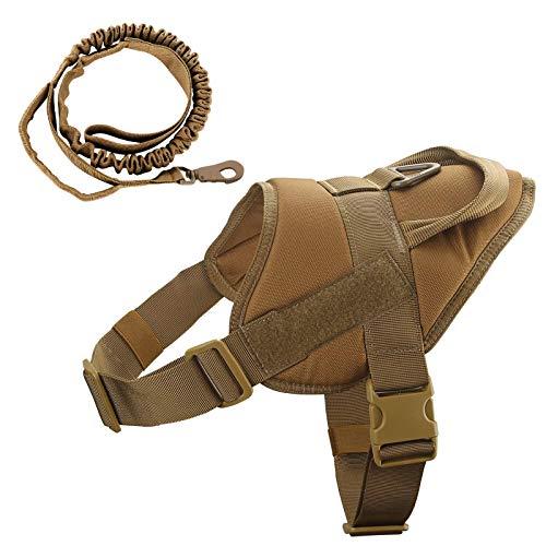 K9Taktisches Hundegeschirr, Militär-Hundegeschirr, Arbeits-Hundeweste, Molle-Trainingsweste, verstellbar, K9-Geschirr mit Griff (Braun, S)