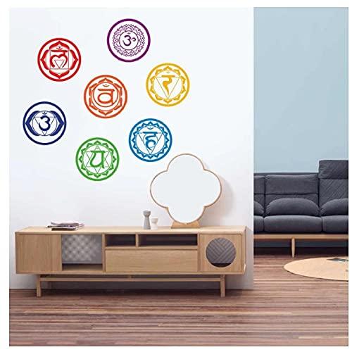 KBIASD Pegatinas de vinilo para pared Mandala Yoga Meditación Símbolo Tatuajes de pared para la sala de estar del hogar/Decoración de estudio de yoga