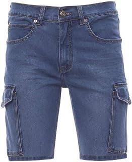 PAYPER Jeep Bermuda da Uomo Taglio Jeans Misto Cotone tasconi Laterali Chiusura con Zip Effetto Consumato Light Blue