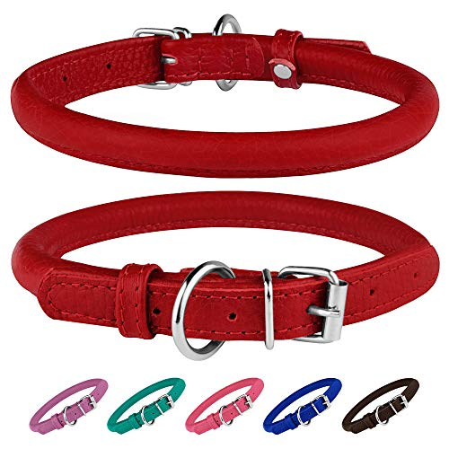 BronzeDog Rolled Leather Dog Collar Round Rope Pet Collars for Small Medium Large Dogs Puppy Cat Red Pink Blue Teal Brown Rose Green (Neck Size 12 - 14, Red)