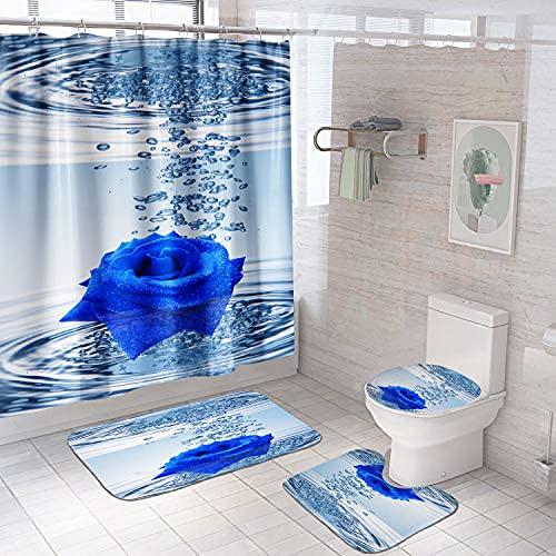 Duschvorhang-Set mit Blumenmuster, mit Vorlegern, WC-Deckelbezug, Badematte, blaue Rose, wasserdicht, Regentropfen, Duschvorhang mit 12 Haken, florales Badezimmer-Zubehör (blaue Rose)