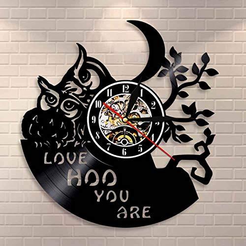 KEC bebé búhos decoración del hogar Reloj de Pared búho Diciendo Amor Hoo Eres Arte de Pared Vintage Vinilo Disco Reloj guardería Chico habitación Animales Reloj