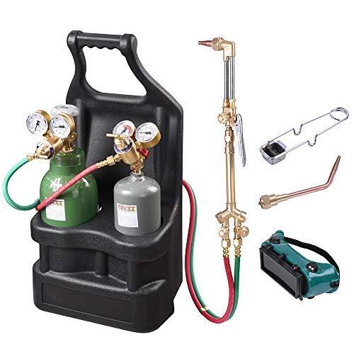 Yescom Portable Weld Torch Tank Kit Twin Tote Oxygen Acetylene Oxy Cutting Brazing Welding Goggles DOT
