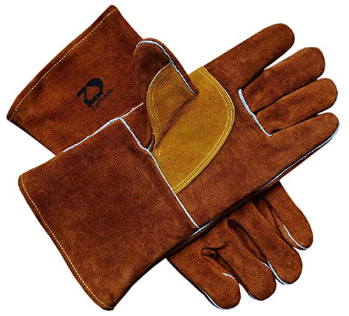 ZaoProteks ZP1801 Extra Long Sleeve Heat Resistant Cowhide Leather Welding Gloves,Work Gloves, Large -For Welding /Gardening /Camping /Fireplace /Barbecue and so on (Blue with Extra Long Sleeve)