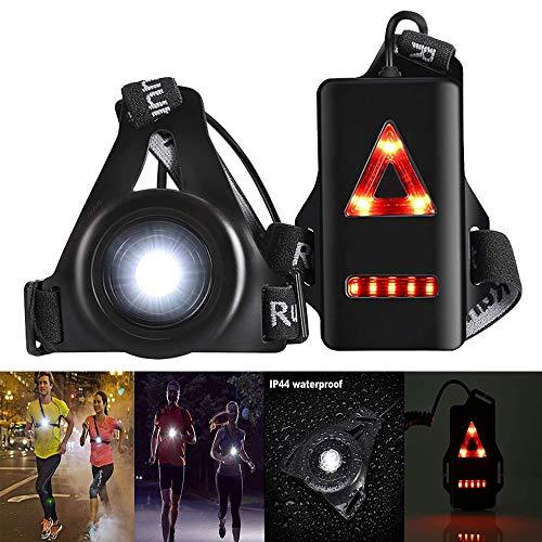 Konesky Lámpara de Luz Correr, Deporte Exterior Impermeable Carga USB Trotar Luz del Pecho 3 Modos de Iluminación con Banda de Fijación Extraíble (1 Pack)