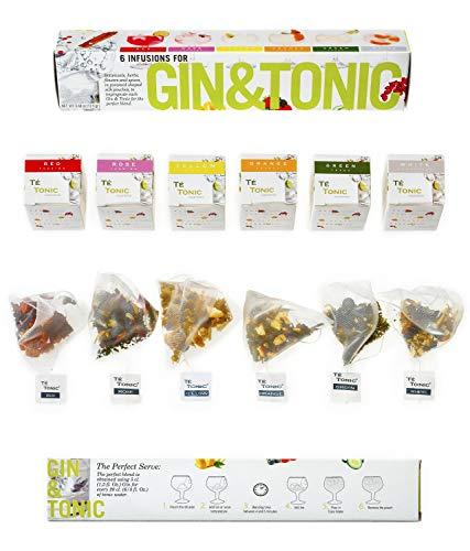 Te Tonic - 6 Gin Tonic Infusions Aroma Beuteln Botanicals Geschenk - Aromen Zum Verfeinern Ihres Gin. 100% Natürliche Gewürze, Kräuter ,Blumen Machen Ihren Cocktail