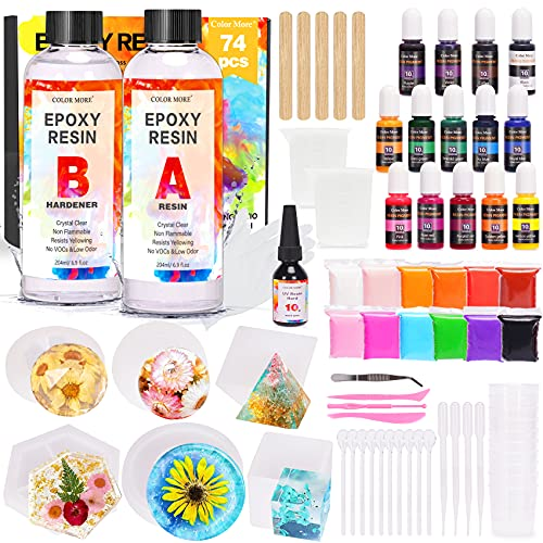 Epoxy Resin Kit for Beginners,Cast Resin 13.8 Ounce, 1 UV Resin,6 Resin Silicone...