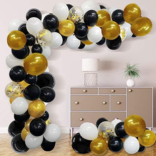 Balloon Arch Garland Kit Black White Gold Confetti Latex Balloons for Graduation Wedding Birthday Party Decorations 118pcs