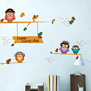 Owls on Tree Happy Every Day Wall Sticker for Kids Room Home Decor DIY Art Decals adesivo de Parede Decorations Animal Sti...