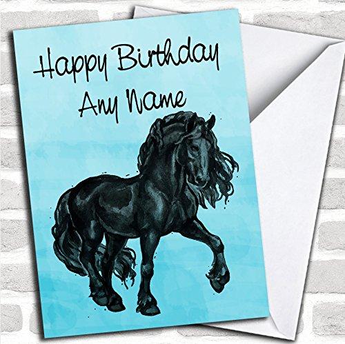 Blue Watercolor Friese Paard Verjaardagskaart Met Envelop, Kan Volledig Gepersonaliseerd, Verzonden Snel & Gratis