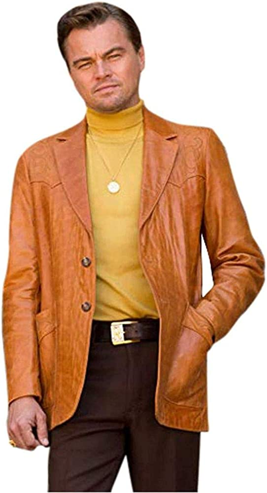 Mens Once Upon Rick in Hollywood Brown Blazer Coat