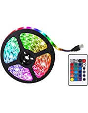 Gmuret RGB LED-ljusremsa LED med 24 knappar fjärrkontroll, RGB LED-remsa 5 m för sovrum, hem, TV, tak, skåpdekoration