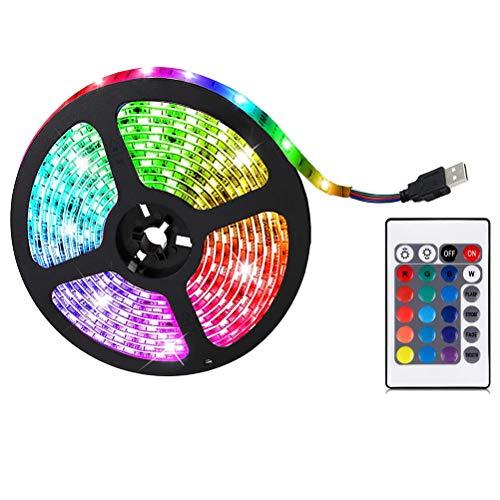 RGB LED Strip, Lichtstreifen Beleuchtung mit 24 Tasten Fernbedienung und 4 dynamischen Modi, LED Lichtband für Schlafzimmer, Küche, TV, Decke, Schrankdeko (5m)