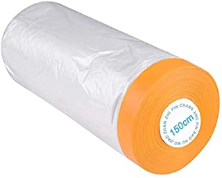 Pre-Taped Masking Film Paper, Adhesive Plastic Painting Drop Film for Automotive Furniture Protection Covering(5 X 65 Ft)