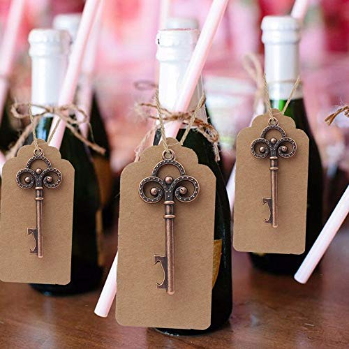 AmaJOY 50Pcs Wedding Favors Rustic Skeleton Key Bottle Opener with 50pcs Escort Card Tag and Twine for Guests Party Favors