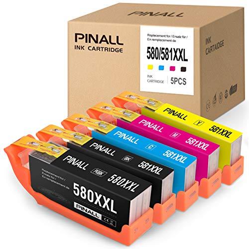 PINALL PGI 580 XXL per cartucce Canon PGI 580 CLI 581 XXL Compatibile per Canon TR8550 TS6150 TR7550 TS9550 TS6250 TS8250 TS8150 TS6151 TS9155 TS8251 TS705(confezione da 5)